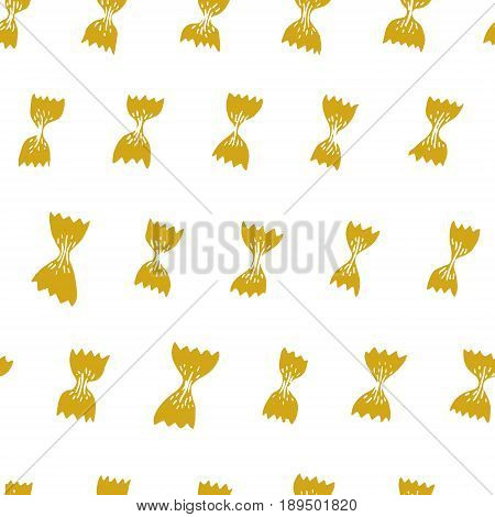 Vector seamless pattern with Italian pasta. Farfalle hand drawn background. Can be use for menu, label, packaging.