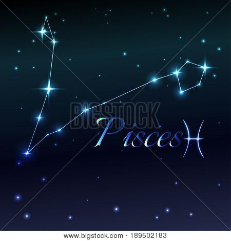 Water symbol of Pisces zodiac sign, horoscope, vector art and illustration. Star constellation.