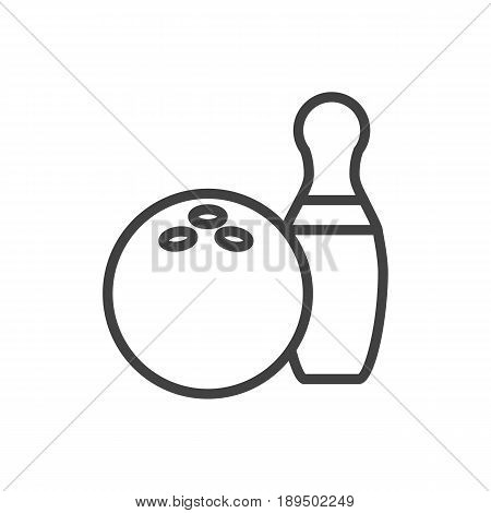 Isolted Kegling Outline Symbol On Clean Background. Vector Bowling Element In Trendy Style.