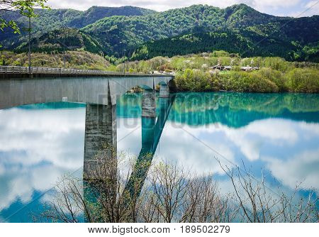 Reflection Lake With Pine Forest In Tohoku, Japan