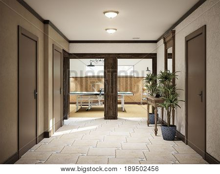 Spacious Hall basement colonial mediterranean style interior design. Bright room with vintage furniture. Beige aged travertine stone tiles on floor White decorative plaster on walls. 3d rendering