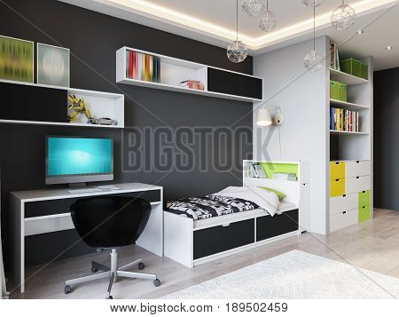 Bright and cozy children's room in modern urban contemporary style interior design with Gray Walls White furniture with light green accents Baby bed Teen bed large wardrobe and work desk. 3d rendering