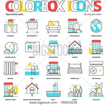 Color Box Icons, Real Estate Backgrounds And Graphics