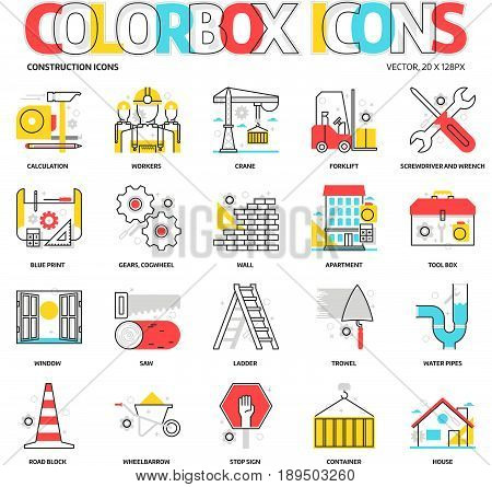 Color Box Icons, Construction Backgrounds And Graphics