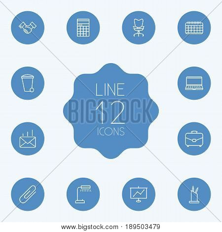 Set Of 12 Cabinet Outline Icons Set.Collection Of Show, Post, Pen Storage And Other Elements.