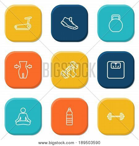 Set Of 9 Bodybuilding Outline Icons Set.Collection Of Barbell, Scales, Water Bottle And Other Elements.