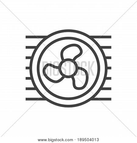 Isolted Fan Outline Symbol On Clean Background. Vector Cooler Element In Trendy Style.