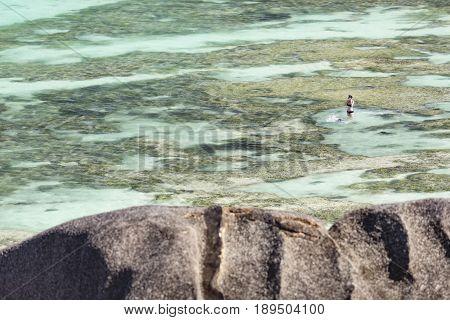 Snorkelers In La Digue, Seychelles, Editorial