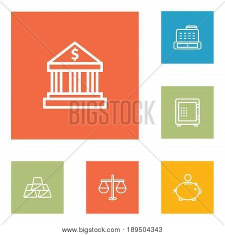 Set Of 6 Finance Outline Icons Set.Collection Of Cash Register, Bank, Safe And Other Elements.