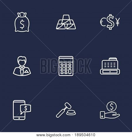 Set Of 9 Finance Outline Icons Set.Collection Of Moneybag, Auction, Savings And Other Elements.