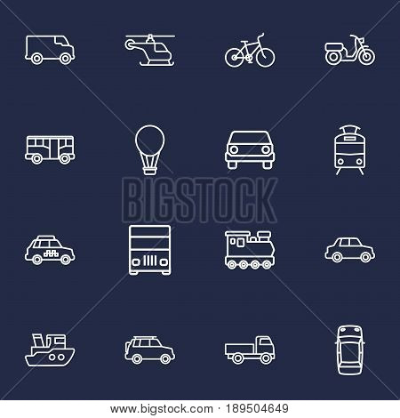 Set Of 16 Shipping Outline Icons Set.Collection Of Ship, Train, Lorry And Other Elements.