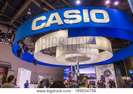 LAS VEGAS - JAN 08 : The Casio booth at the CES show held in Las Vegas on January 08 2017 CES is the world's leading consumer-electronics show.