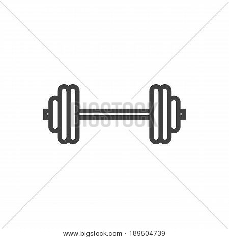 Isolted Dumbbell Outline Symbol On Clean Background. Vector Barbell Element In Trendy Style.