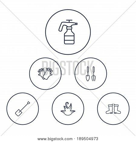 Set Of 6 Farm Outline Icons Set.Collection Of Atomizer, Waterproof Shoes, Safer Of Hand Elements.