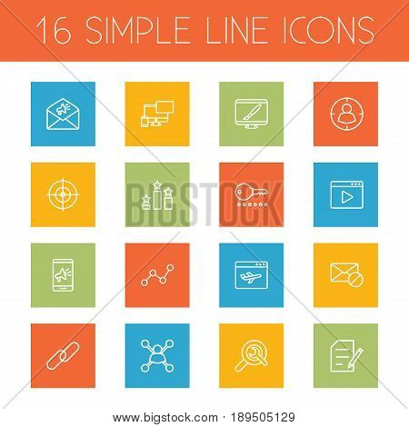 Set Of 16 Optimization Outline Icons Set.Collection Of Choice, Blogging, Keywords And Other Elements.