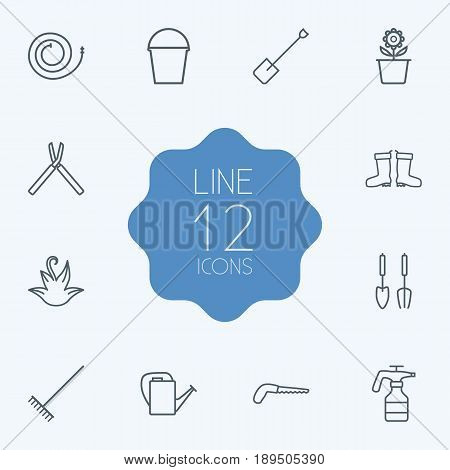 Set Of 12 Horticulture Outline Icons Set.Collection Of Spade, Shears, Harrow And Other Elements.
