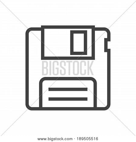 Isolted Diskette Outline Symbol On Clean Background. Vector Floppy Element In Trendy Style.