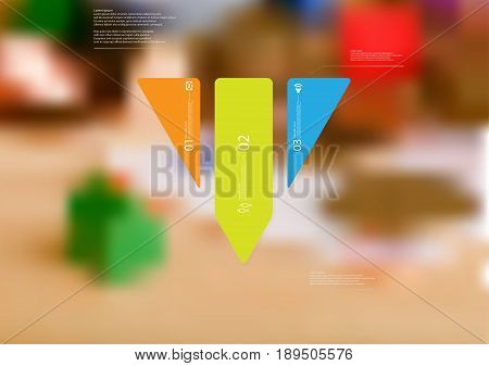 Illustration infographic template with motif of triangle vertically divided to three standalone color sections with simple sign number and sample text. Blurred photo is used as background.