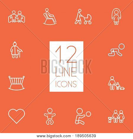 Set Of 12 People Outline Icons Set.Collection Of Skipping Rope, Stroller, Crawling Kid And Other Elements.