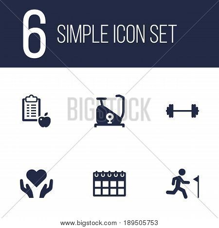 Set Of 6 Bodybuilding Icons Set.Collection Of Running, Heart In Hand, Training Bicycle Elements.