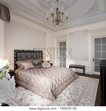 Luxury Classic Modern Bedroom Interior Design with Beige Walls Bronze Fixtures Accessories Black Silver Furniture Baroque Stucco Fretwork Decorations on Ceiling and Walls. 3d rendering