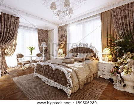 Luxury Classic Modern Bedroom Interior Design with Beige Walls Silver Fixtures Accessories White Silver Furniture Baroque Stucco Fretwork Decorations on Ceiling and Walls. 3d rendering