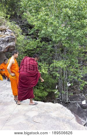 Monks Visiting Kep Waterfall Near Kep