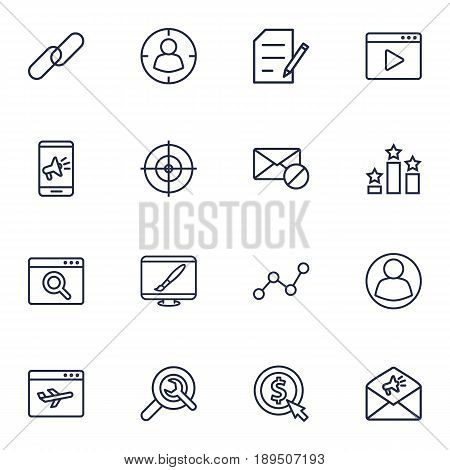 Set Of 16 Optimization Outline Icons Set.Collection Of SEO Test, Advertising, Home And Other Elements.