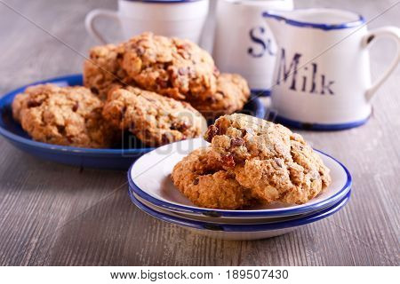 Oat and wholewheat cookies with raisin served