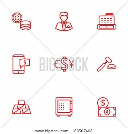 Set Of 9 Budget Outline Icons Set.Collection Of Coins, Electron Payment, Businessman And Other Elements.