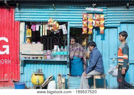 DARJEELING INDIA - NOVEMBER 28 2016: Local shop or stall selling snack and drink in Darjeeling India