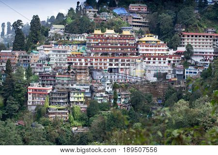 DARJEELING INDIA - NOVEMBER 28 2016: Druk Thupten Sangag Choling Monastery or Dali Monastery located in the middle of Darjeeling hill town. It is one of the largest monasteries built in typical Tibetan style.