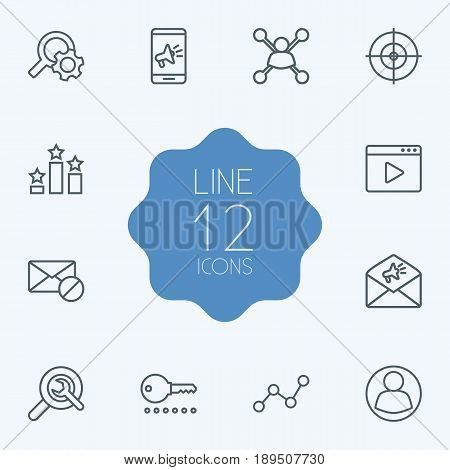 Set Of 12 Search Outline Icons Set.Collection Of SEO Test, Stock Exchange, Choice And Other Elements.