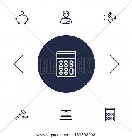 Set Of 6 Budget Outline Icons Set.Collection Of Auction, Calculator, Exchange And Other Elements.