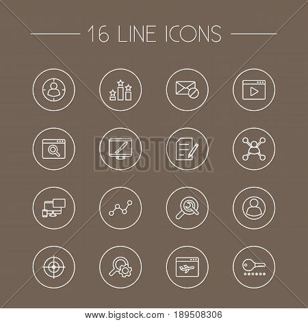 Set Of 16 Engine Outline Icons Set.Collection Of SEO Test, Arrangement, Copyright And Other Elements.