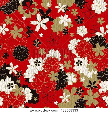 Japanese classic floral seamless pattern, traditional kimono fabric, asian festive design with spring flowers in blossom, vector illustration, red, black, white, golden elements, oriental background