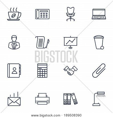 Set Of 16 Bureau Outline Icons Set.Collection Of Show, Recycle Bin, Counter And Other Elements.