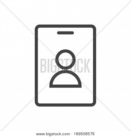 Isolted Id Card Outline Symbol On Clean Background. Vector Badge Element In Trendy Style.