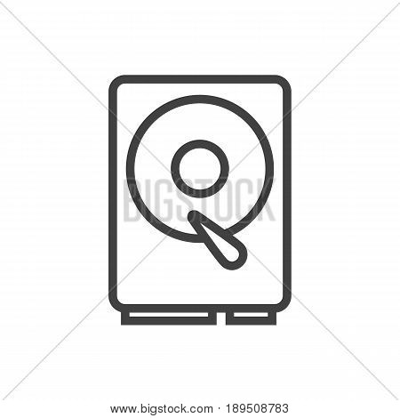 Isolted Hard Drive Outline Symbol On Clean Background. Vector Hdd Element In Trendy Style.
