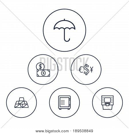 Set Of 6 Finance Outline Icons Set.Collection Of Atm, Dollar, Golden Bars And Other Elements.
