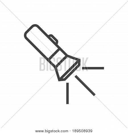 Isolted Flashlight Outline Symbol On Clean Background. Vector Pocket Torch Element In Trendy Style.