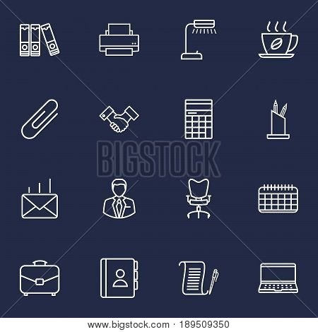 Set Of 16 Cabinet Outline Icons Set.Collection Of Notebook, Administrator, Fastener Paper And Other Elements.
