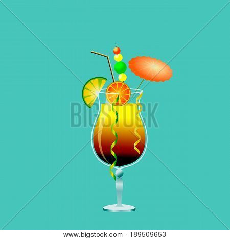 Alcoholic drink in a cocktail glass with fruit, umbrella and straw.