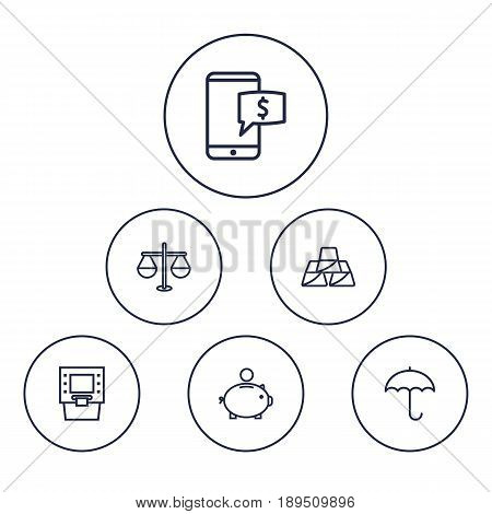 Set Of 6 Finance Outline Icons Set.Collection Of Atm, Justice, Electron Payment And Other Elements.