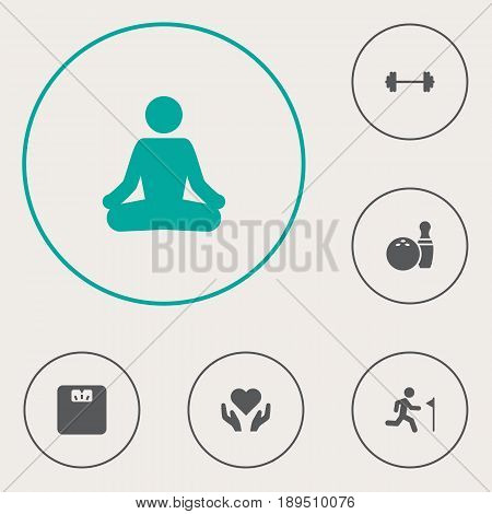 Set Of 6 Training Icons Set.Collection Of Dumbbell, Kegling, Meditate And Other Elements.