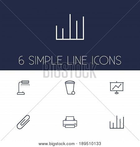 Set Of 6 Work Outline Icons Set.Collection Of Chart, Fastener Paper, Show And Other Elements.