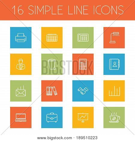Set Of 16 Bureau Outline Icons Set.Collection Of Recycle Bin, Document Case, Telephone Directory And Other Elements.
