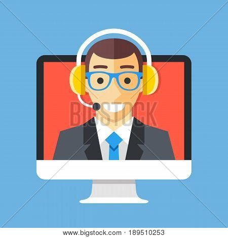 Call center agent on computer screen. Customer support, technical support, client service, online help concepts. Modern flat design graphic elements. Vector illustration