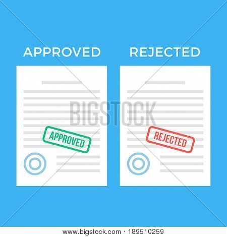 Documents with approved stamp and rejected stamp. White sheets of paper. Visa, recruiting, employment, job application, contract concepts. Modern flat design graphic elements set. Vector illustration