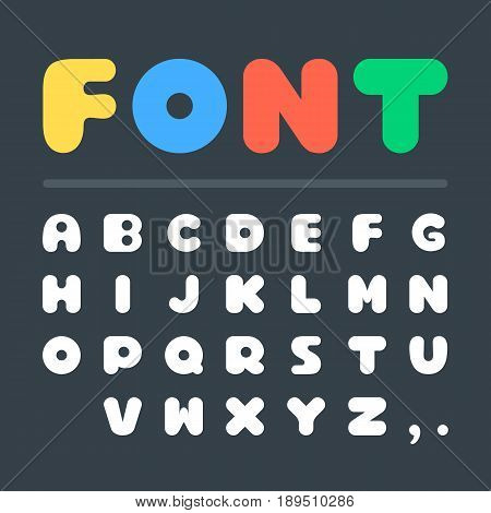 Vector font. Creative big thick fat white letters isolated on black background. Bold font. Vector illustration